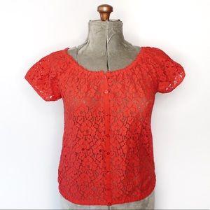 🎀3/$30 Joe Fresh Poppy Red Lace Tee Blouse